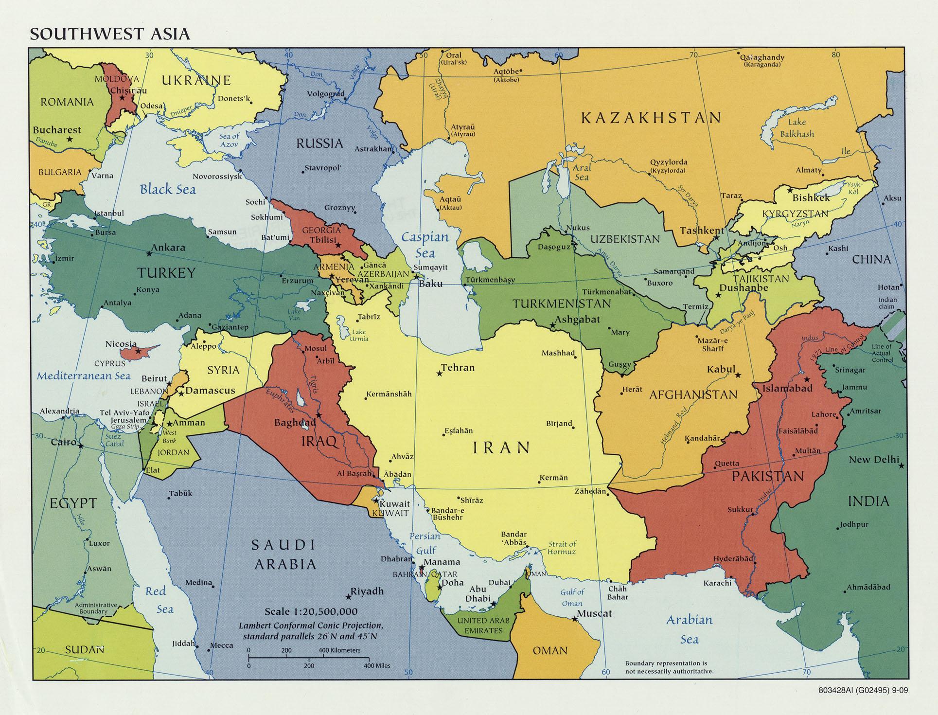 Verdenskart Kart Asia Politisk Kart Over S 248 Rvest Asia 2009